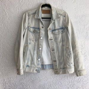 H&M Distressed Light Wash Jean Jacket